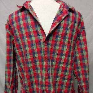 ☑️New J Crew sanitized checkered read green Large